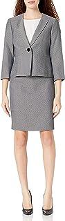 Le Suit 女式娇小单扣无领钻石弹力提花缝边裙套装
