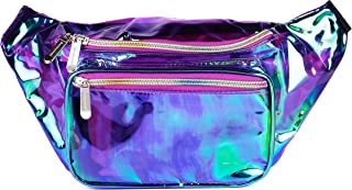 SoJourner 全息剃须刀包 - 适合节日女士,男士可爱时尚腰包皮带包 Transparent - Purple One_Size