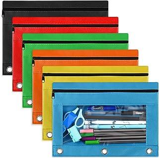 6 包活页夹铅笔袋适用于 3 环笔记本活页夹,织物铅笔袋保护套口袋适用于家庭/办公室/学校用品