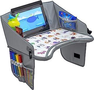 BonaBee Baby儿童旅行托盘│带杯子/iPad/平板电脑支架的笔记本电脑收纳袋│坚固游戏桌w/ABC设计适合儿童、幼儿和婴儿的零食吃和绘图│兼容婴儿车