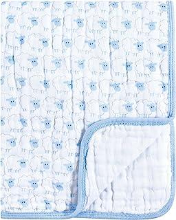 Hudson Baby 中性款婴儿平纹细布宁静被毯,蓝色绵羊,均码
