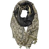 Achillea 柔软丝滑双面佩斯利羊绒披肩围巾带流苏 203.2 cm x 71.12cm