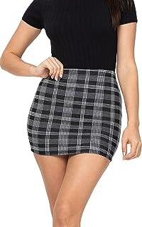 FASHION BOOMY 女式格子裙 - 紧身高腰铅笔迷你裙