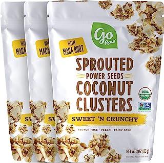 Go Raw Sweet 'N 脆脆发芽种子椰子簇 ,3oz 袋 (3 包) — 有机 | 无谷物 | 无坚果 | 素食主义者 | 超级食品
