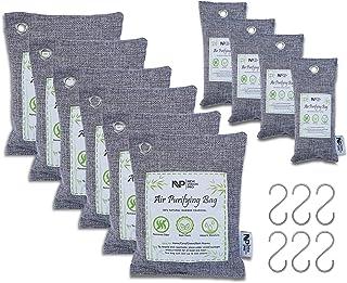 New Vision Pro 木炭空气净化袋 - 天然竹炭(适合儿童和宠物) - 强力*和吸湿剂,适合家庭、汽车、衣柜和地下室区域(6x200g,4x75g,6XS 钩)