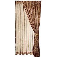 (BELLUNA)BELLUNA 线条描绘遮光窗帘&同图案的波甲套装 棕色 约宽100×长200cm(各2片)