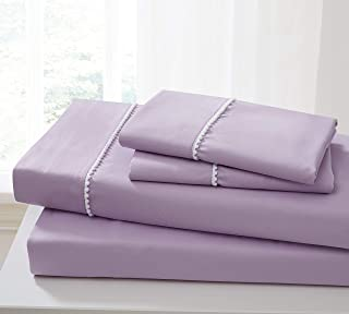 Spirit Linen Home 床单套装 4 件套 Pom Pom Sweet Dream 超软超细纤维床单套装 带床笠床单枕套(紫罗兰薄纱,中号双人床)