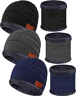 儿童冬季针织帽和围巾套装保暖针织无檐*帽圆围巾带羊毛衬里,适合 5-14 岁儿童男孩女孩(黑色、蓝色、灰色、3 套)