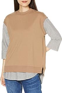 Cecile 衬衫 分层风格 背心 条纹衬衫 落肩 遮盖臀部长度 女士 NB-6159