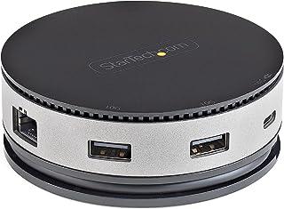 USB C 多端口适配器 - USB 3.1 Gen 2 10Gbps Type-C 迷你底座带 4K 60Hz HDMI / DisplayPort 或 1080p VGA - 75W PD 直通,3 端口 USB 集线器,GbE - 移动扩...