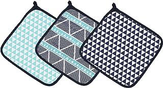 Bacati Liam Aztec 三角形平纹细布 3 件套浴巾 Aqua/Navy 均码