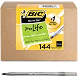 BIC Round Stic Xtra Life圆珠笔 中号笔头1.0 mm Black Ink 144支