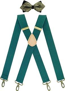 QCWQMYL 男式背带和领结套装复古青铜旋转挂钩弹性背带