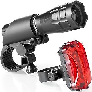 TeamObsidian 自行车灯套装 - 适用于您的自行车的超亮 LED 灯 - 易于安装前灯和尾灯,带快速释放系统 - *佳前后循环照明 - 适合所有自行车