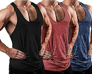 LecGee 男式 3 件装健身背心干爽 Y 型背部锻炼肌肉 T 恤弦* T 恤