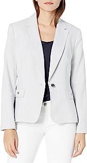 NINE WEST 女式缺口领人字呢单扣夹克,带口袋