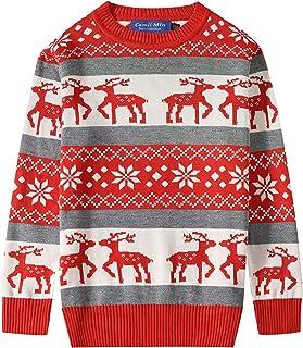 Camii Mia 大男孩驯鹿套头雪花圆领丑陋圣诞毛衣