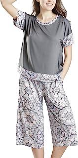 INK+IVY 女式卡普里睡衣套装加大码女式短袖睡衣和睡衣裤套装 Day Dreamer 215 Medium