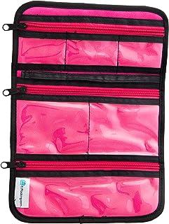 EzPacking 珠宝卷,适合家庭整理和旅行/项链,戒指,手镯,耳环收纳 Pink/Black Exterior, Pink Interior EZPJEWELRYROLL