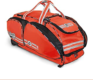 No Error NO E2 轮式捕手装备包 - 大型棒球和垒球包,适合接球员装备,带胖轮 橙色