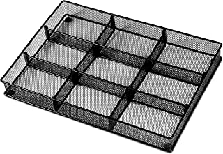 扁平餐具抽屉收纳盒 - 防滑厨房托盘,6 个部分整地摆放餐具和餐具。 还能让您的桌面抽屉和办公用品井有条 网眼 9 Section - Adjustable 黑色