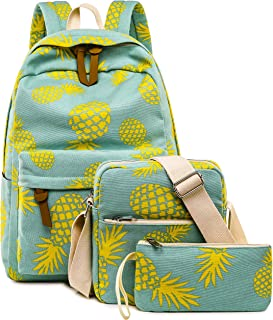BLUBOON 学生背包套装 女孩 笔记本电脑 书包 休闲背包 适合 15 英寸笔记本电脑 带午餐手提包和铅笔包 Pineapple Mint Green-A002 15 inches