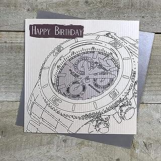 白色棉花卡片手表设计 生日快乐 男式 生日贺卡