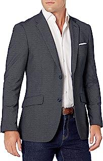 Perry Ellis 派瑞艾力斯 男式修身弹力纯色圆点印花西装外套,深蓝宝石,M 码/40 常规