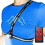 AVANTO 胸灯 PRO 适用于跑步者和慢跑者,可调节光束和反射器,多合一反光跑步背心齿轮,*灯,头灯手电筒,USB…