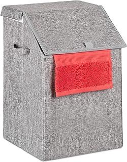 Relaxdays 洗衣篮,可折叠洗衣篮,带盖和提手,方形洗衣箱,56 升,高 x 宽 x 深 55 x 37 x 38 厘米,灰色,66 x 38 x 38 厘米