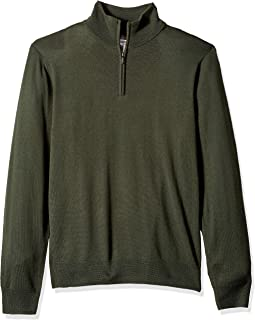 Goodthreads Men's Merino Wool Quarter Zip Sweater, Olive, XX-Large
