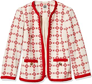 Anne Klein 女士窗格方格无领夹克,带编织饰边