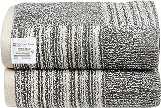 76.20x137.16 cm 超柔软 2 件装超大浴巾 500 GSM 竹炭和环锭棉浴巾 非常适合日常使用,易于护理,可机洗,吸水和柔软浴室毛巾