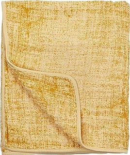 Meyco Fine Lines 系列 455020 细布细布水鸭绒毯 * 纯棉 120 x 120 厘米 3 层双面赭石黄色图案