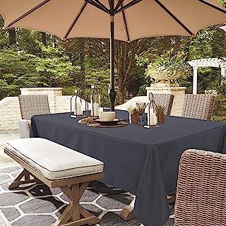 LUSHVIDA 户外桌布带雨伞孔和拉链矩形,长方形桌布适用于春夏天庭院花园桌面装饰,灰色,60 X 84 英寸