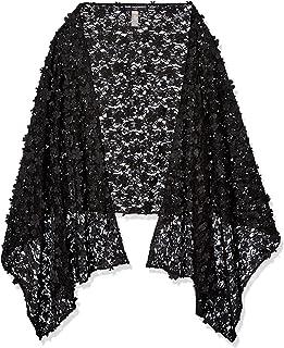 Karl Lagerfeld Paris 女士 3D 花纹披肩,黑色,1SZ