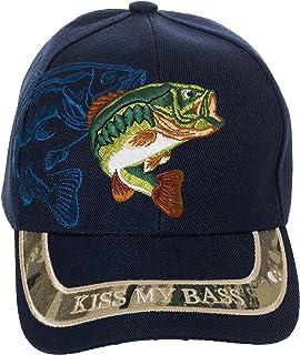 Artisan Owl Kiss My Bass 帽子 - 趣味钓鱼渔夫礼物 - * 纯棉刺绣帽