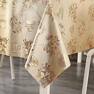 Qucover 乙烯基桌布复古金色防水玫瑰花桌布厨房餐桌 | 桌面 | 装饰 | 派对 | 婚礼 | 感恩节/圣诞节(金色,137.16 厘米 x 137.16 厘米)