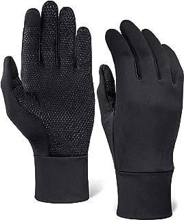 跑步运动手套 - 与触摸屏兼容 - 保暖手套衬垫专为跑步、骑自行车、文字、驾驶而设计 - 90% 尼龙 10% 氨纶增强混合与超抓地力手掌 - 男女皆宜