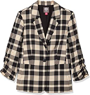 Vince Camuto 女式褶边袖高地格子外套
