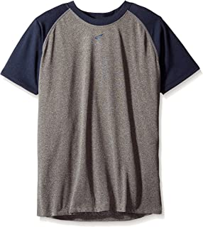 Easton 男童短袖插肩衬衫 运动麻灰色/*蓝 小号