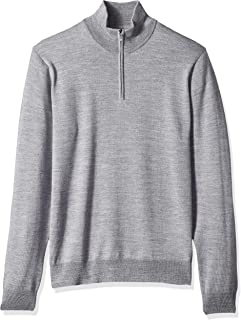 Goodthreads Men's Merino Wool Quarter Zip Sweater, Heather Grey, Medium