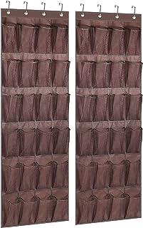 KIMBORA 2 件装门鞋架收纳包 24 个大网眼口袋挂鞋架,适用于衣橱、咖啡和咖啡色