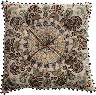 Creative Co-op 方形多色绣花大象带绒棉枕头