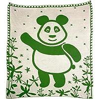 SonnenStrick 30097 宝宝抱毯 - * 有机棉 - 80 x 80 厘米 - 绿色熊猫图案