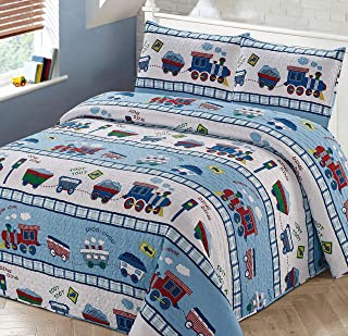 Kids Zone 家居亚麻 3 件套全/双人床床罩被套件男童多色火车选择-Choo 铁路轨道 四轮车 蓝色 白色 红色