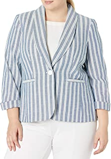 NINE WEST 女式 1 粒扣青果领卷袖条纹夹克