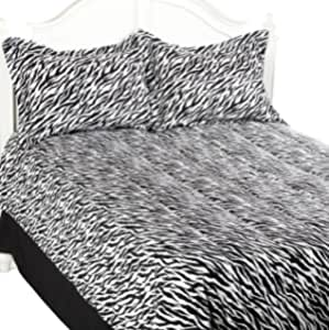 Divatex 超细纤维斑马被子迷你套装双人床/中号双人床/黑色 黑色/白色 Queen 312676FQBW