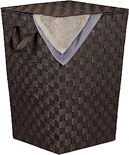 Relaxdays 洗衣篮 带盖,50 升,编织外观,塑料,脏衣服收纳筐 高 x 宽 x 深:51 x 35 x 35 厘米,棕色