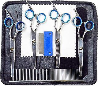 宠物*剪刀套装 适用于狗狗或猫 - 纤薄、混合、弯曲剪刀带圆形尖端 - 适用于长毛、大型或小型狗、猫 - 套装包括*、梳子 - 专业*用品